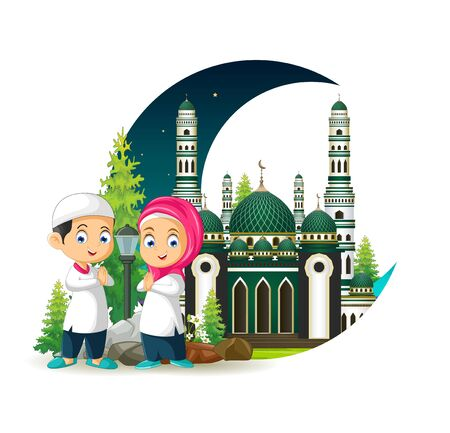 Mosque With Kids Cartoon and Crescent Moon Ilustracja