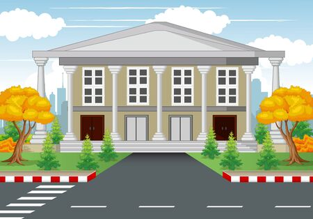 White House With Road and Town Background