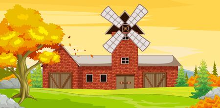 Big Farm House With Autumn Forest Background