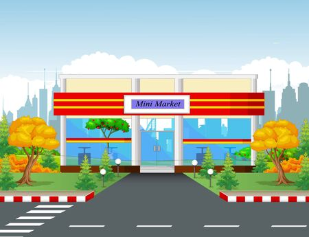 Minimarket Building With Town Background