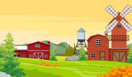 Farm House in Autumn Forest Background