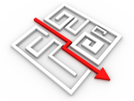 solved maze puzzle: Solved Maze Puzzle Stock Photo