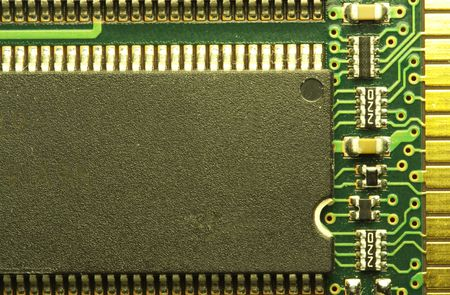 close up of a computer RAM memory chip.  Imagens