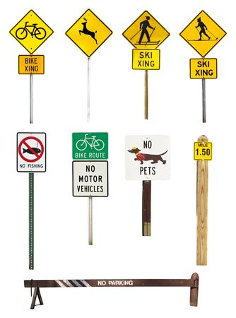 collection of signs in a natural park on white background photo