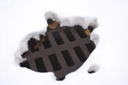 강 우물 덮개 위의 눈에 녹은 구멍