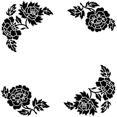 black flower outline over white background with space for text.