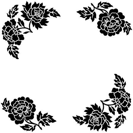 zwarte bloem schets over een witte achtergrond met ruimte voor tekst.