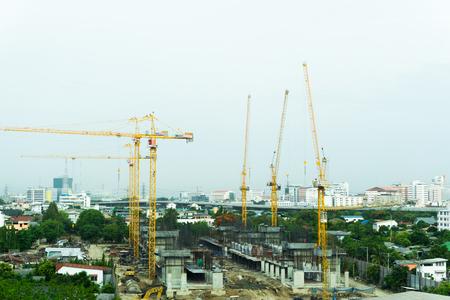 BANGKOK THAILAND - MAY 29 2016 : Crane of building during construction in Bangkok