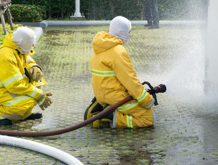 preparedness: Training operational firefighter. Stock Photo