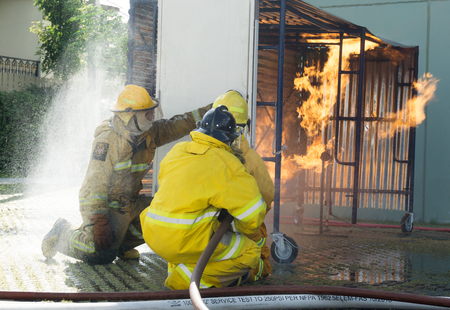 resistant: Training operational firefighter. Stock Photo