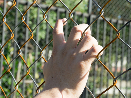 Hand with metal fence