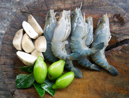 Ingredients of Thai food Tom Yum Goong. shrimp mushroom and herb.