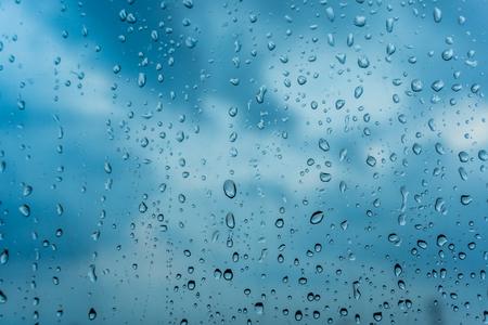 Water drops of rain on glass. Stock Photo