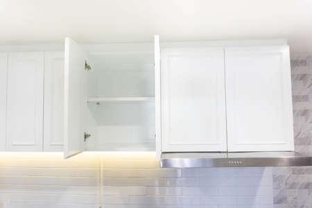 White storage cabinet in the modern kitchen.