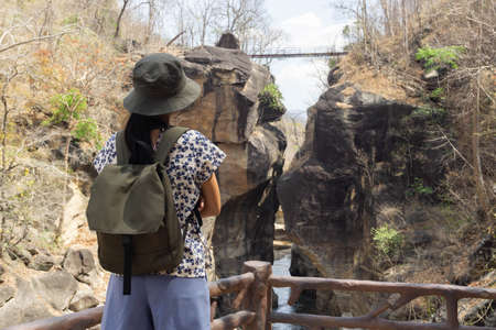 Tourists of Asian women backpacking at Op Luang national park is an amazing natural attraction in Chiang Mai, Thailand. 版權商用圖片