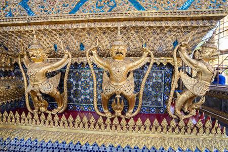 Beautiful temple of Wat Phra Kaew landmark in Bangkok Thailand, Travel concept.