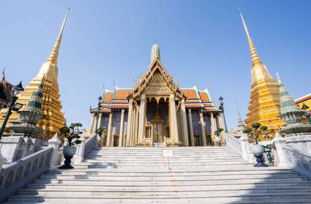 The beautiful of Wat Phra Si Rattana Satsadaram or Wat Phra Kaew landmark in Bangkok Thailand. 版權商用圖片