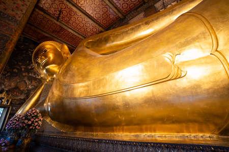 Bid Buddha gold statue in Wat Pho , Beautiful temple of Wat Phra Chetuphon Wimon Mangalaram, Bangkok,Thailand.