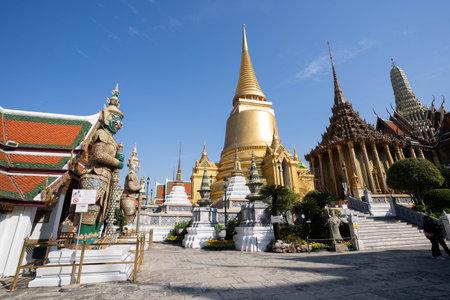 The beautiful of Wat Phra Si Rattana Satsadaram or Wat Phra Kaew landmark in Bangkok Thailand. 新聞圖片