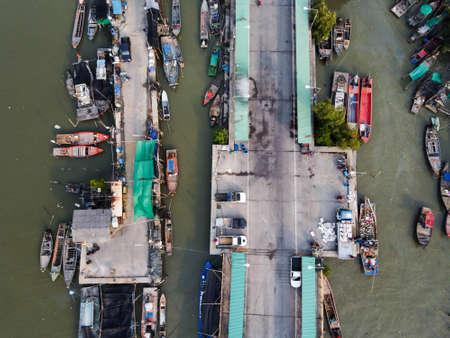 Top view of Community local fishing boats in Chonburi Province, Thailand. 版權商用圖片