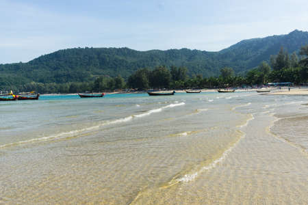 Beautiful sea on blue sky background, Phuket Thailand. 版權商用圖片