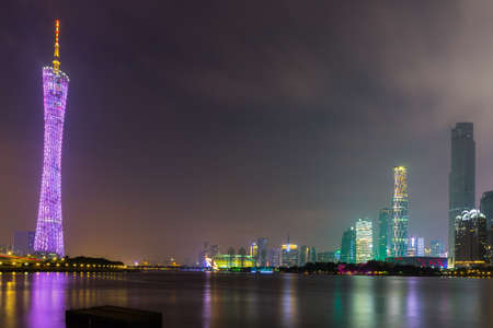 canton: Night view of Guangzhou with Canton Tower Editorial
