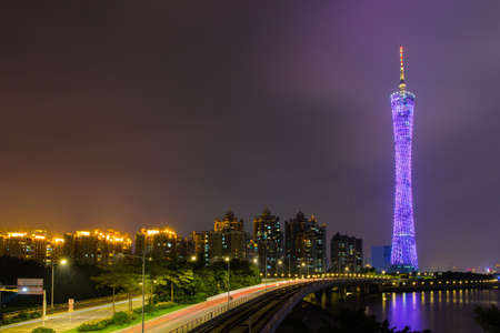 slower: Night view of Guangzhou Editorial