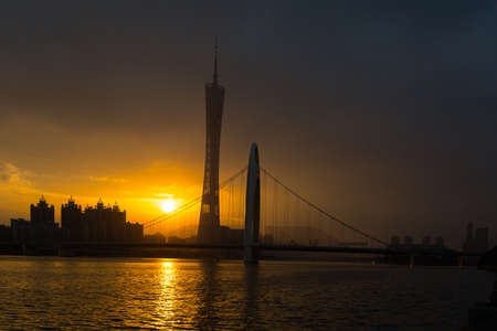 canton: Sunset view of Canton Tower