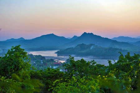 mekong: View of Mekong RIver in Luang Prabang Town from Phousi Mountain Stock Photo