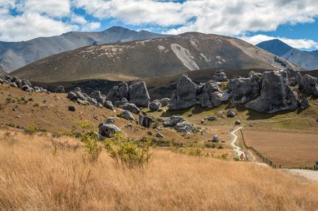 weird: Weird landscape of Castle Hill in Southern Alps, Arthurs Pass, South Island of New Zealand Stock Photo