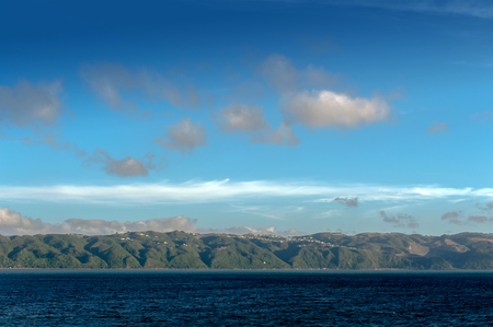 marlborough: Coast of North Island of New Zealand seen from ferry from Wellington to Picton