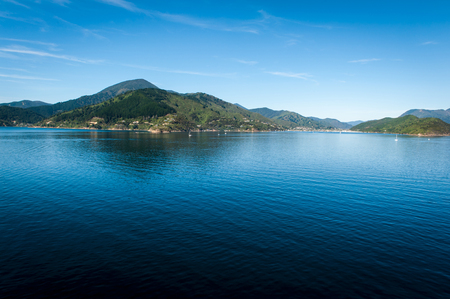 marlborough: Marlborough Sounds seen from ferry from Wellington to Picton, New Zealand Stock Photo