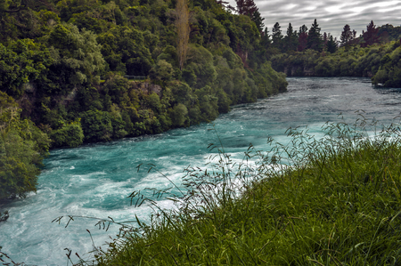 water scape: The Huka Falls are a set of waterfalls on the Waikato River that drains Lake Taupo in New Zealand.