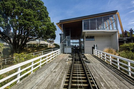 wellington: Wellington, New Zealand - March 3, 2016: View up track from Wellington Cable Car to Kelburn terminus