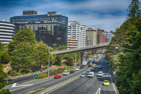 newzealand: Wellington, New Zealand - March 3, 2016: View of Wellington Urban Motorway Editorial