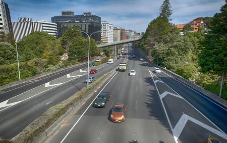 wellington: Wellington, New Zealand - March 3, 2016: View of Wellington Urban Motorway Editorial
