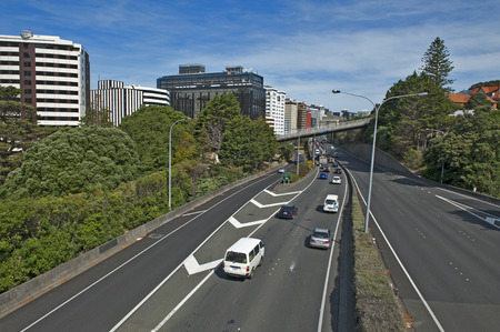 overbridge: Wellington, New Zealand - March 3, 2016: View of Wellington Urban Motorway Editorial