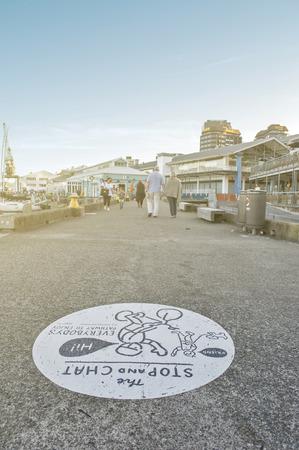newzealand: Wellington, New Zealand - March 3, 2016: Walkway at Wellington waterfront, north island of New Zealand Editorial