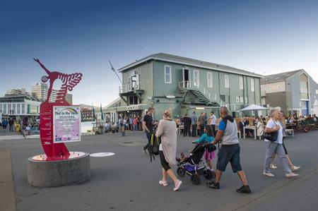 newzealand: Wellington, New Zealand - March 3, 2016: People walking at Wellington waterfront, north island of New Zealand Editorial