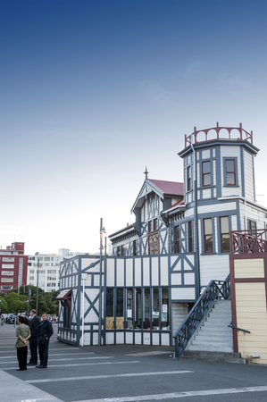 newzealand: Wellington, New Zealand - March 3, 2016: Old classic building on Wellington waterfront now served as Wellington Rowing Club