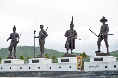 king ramkhamhaeng: Hua Hin, Thailand - July 2, 2016 : Statues of Thai kings located at Rajabhakti (Ratchapak) Park to commemorate the former seven Great Kings from each era.