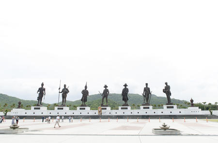 king ramkhamhaeng: Hua Hin, Thailand - July 2, 2016 : Statues of seven kings of Thailand located at Rajabhakti (Ratchapak) Park to commemorate the former seven Great Kings from each era.