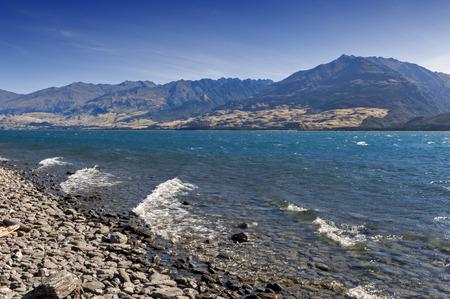 campsite: Lake Wanaka, located in the Otago region of New Zealand Stock Photo