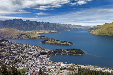 arial view: Arial view of Lake Wakatipu and Queenstown, south island of New Zealand