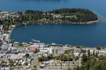 wakatipu: Arial view of Lake Wakatipu and Queenstown, south island of New Zealand