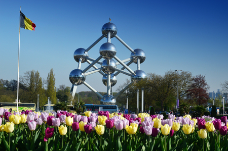 constructed: Brussels, Belgium - April 2016: The Atomium, a building in Brussels originally constructed for Expo 58, the 1958 Brussels Worlds Fair. Editorial