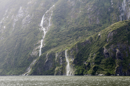 fiord: Milford Sound  Piopiotahi, a fiord in the south west of New Zealands South Island, within Fiordland National Park Stock Photo