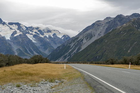 Mount Cook Road (State Highway 80) along the Tasman River leading to Aoraki  Mount Cook National Park and the village