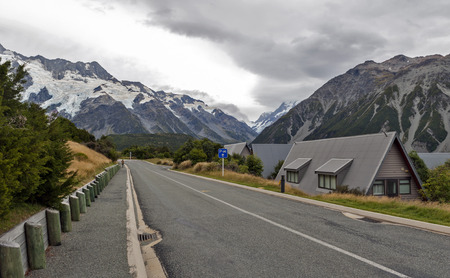 hooker: Mount Cook Village located in Hooker Valley at the base of New Zealandâ??s highest mountain, Aoraki  Mount Cook. Stock Photo