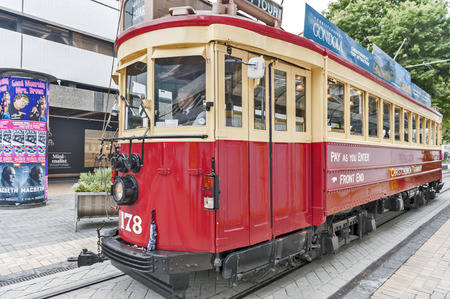 tramway: Christchurch, New Zealand - February 14, 2016: Vintage style tram on the Christchurch Tramway offers a unique city tour by the classic way of transportation in New Zealand